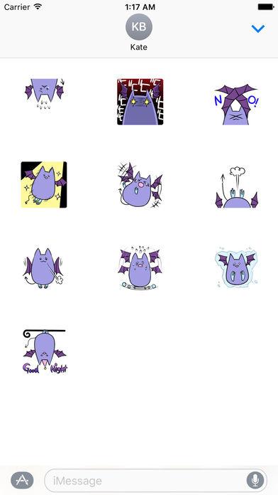 Fat and Cute Bat Sticker screenshot 3