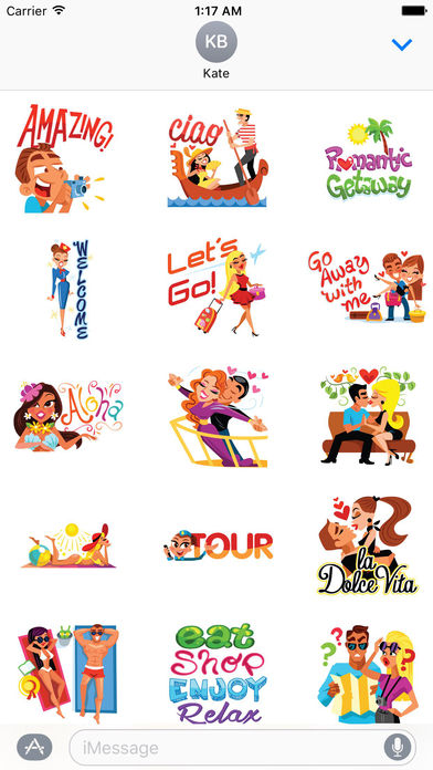 Love and Summer Vacation Emoji Sticker screenshot 1