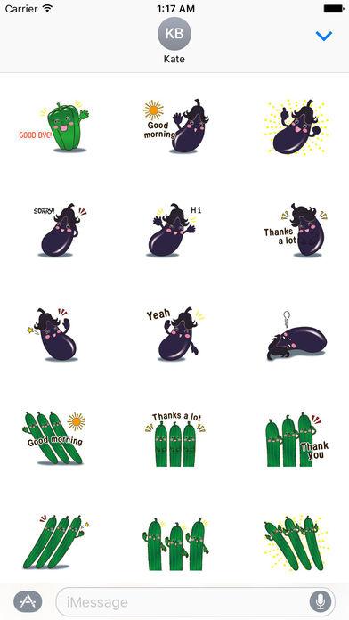 Funny Vegetables Emoji Sticker screenshot 2