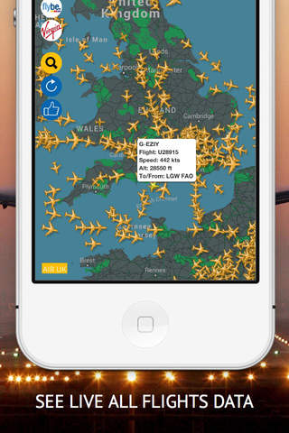 Air UK : Live flight tracker for Flybe, British Ai - náhled