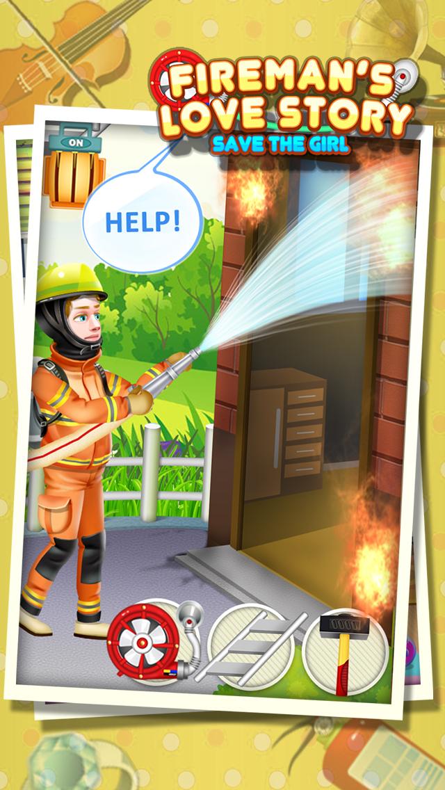 Fireman's Love Story - Rescue Game FREE screenshot 2