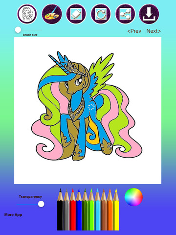Pony Princess Coloring Book for Kids & Adults screenshot 5