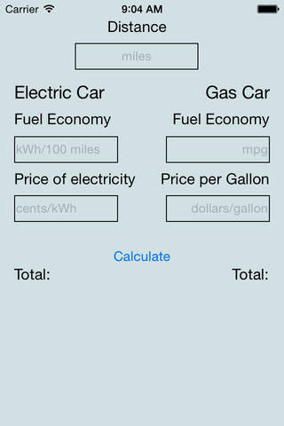 Electric vs Gas Vehicle Fuel Cost Calculator - náhled
