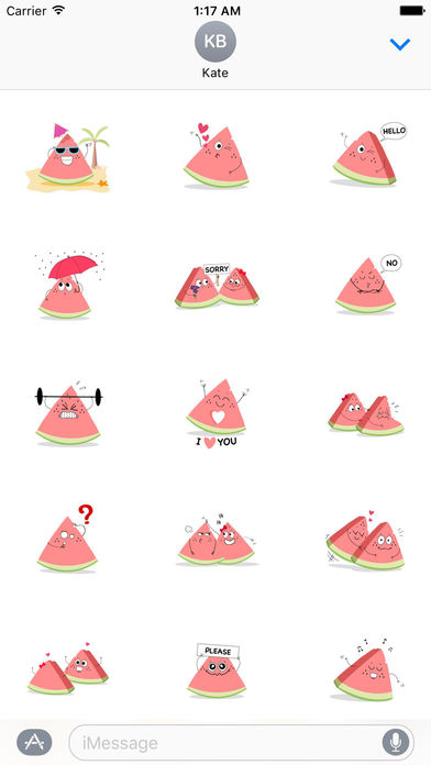 Relaxing Watermelon Emoji Sticker screenshot 1