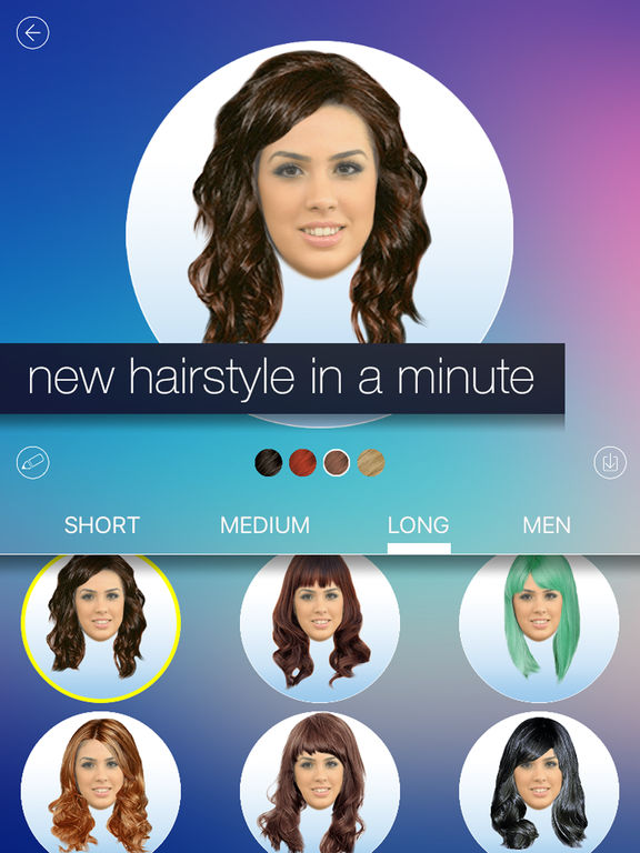 new hair style app hair makeover new hairstyle and haircut in a minute on 7686 | sc1024x768
