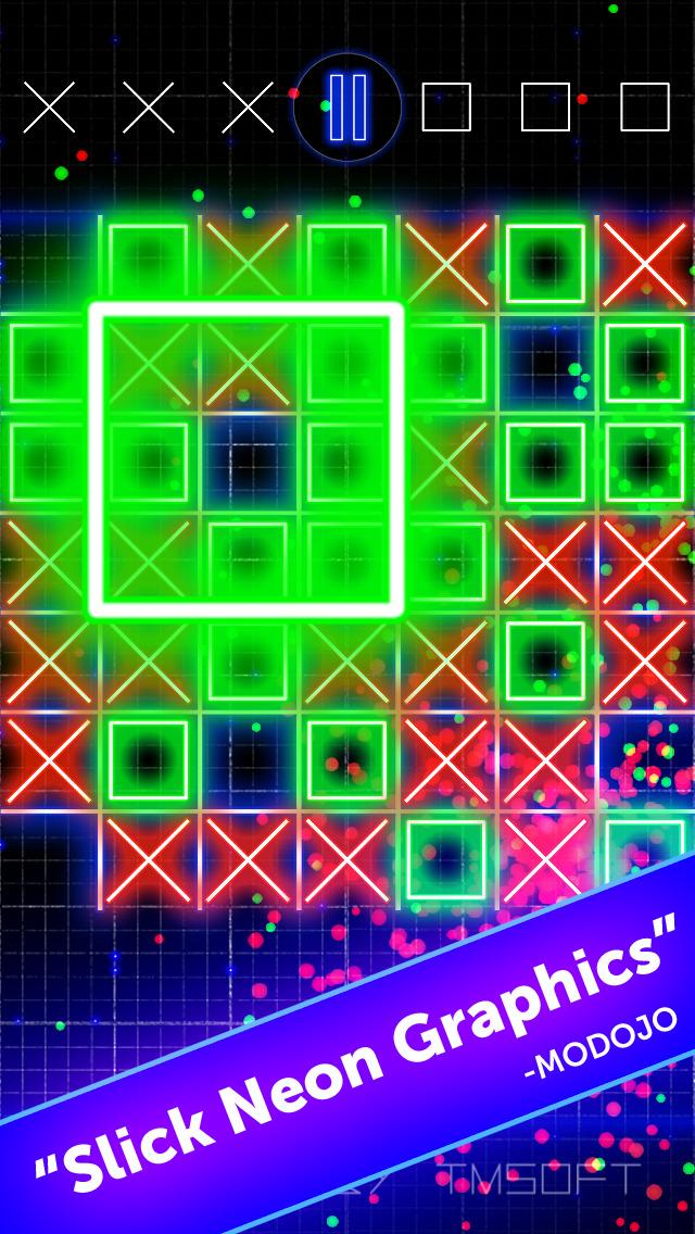 Tic Tac Toe Glow by TMSOFT screenshot 1