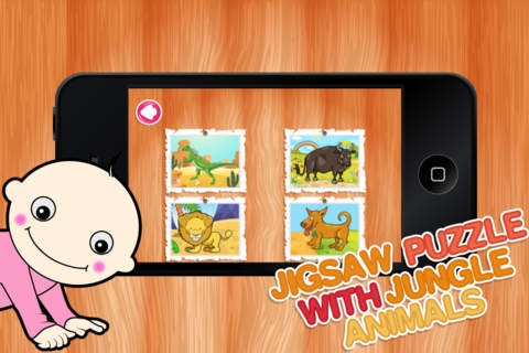 Jigsaw Puzzle With Jungle Animals - Preschool Lear - náhled