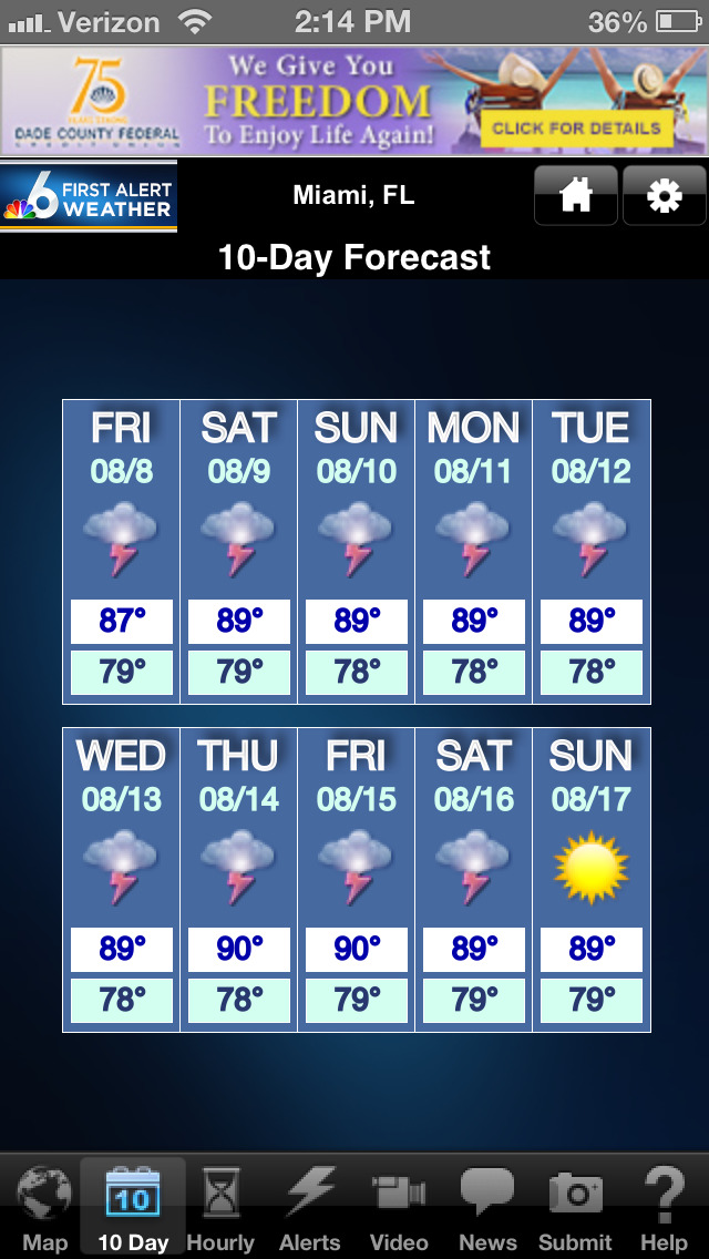 NBC 6 South Florida Weather screenshot 2