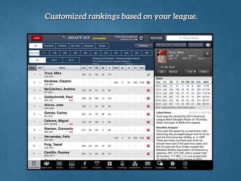 RotoWire Fantasy Baseball Draft Kit 2015 screenshot 6