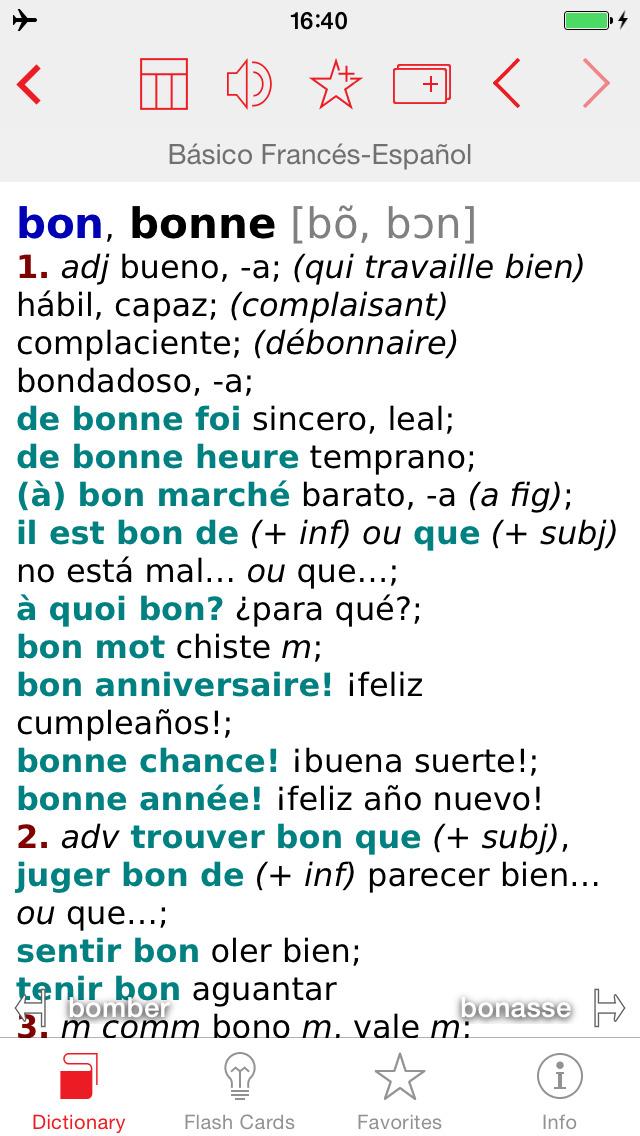 French - Spanish Berlitz Basic Talking Dictionary screenshot 1