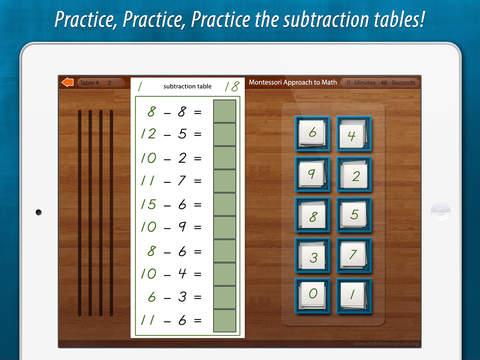 Montessori Subtraction Tables screenshot 6