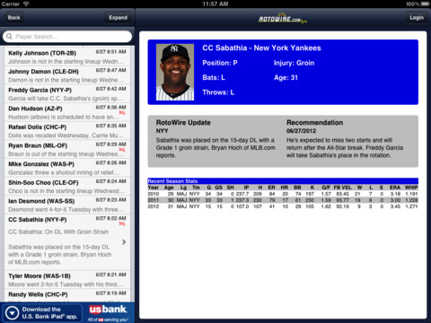 RotoWire Fantasy News Center screenshot 4