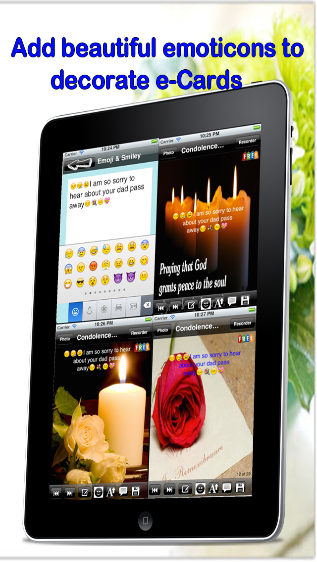 Best Condolence Cards with Emoji Keypad.Customise and send condolence cards with sympathy text,voice messages and emoticons screenshot 2