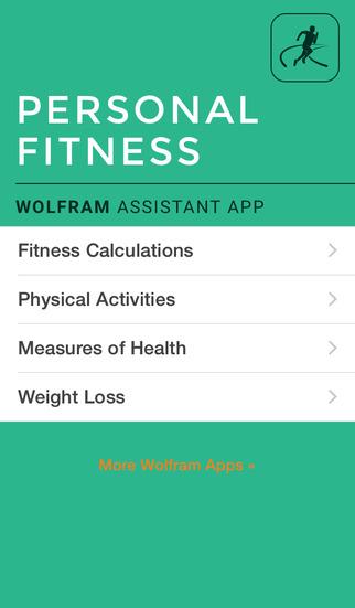 Wolfram Personal Fitness Assistant App screenshot 1