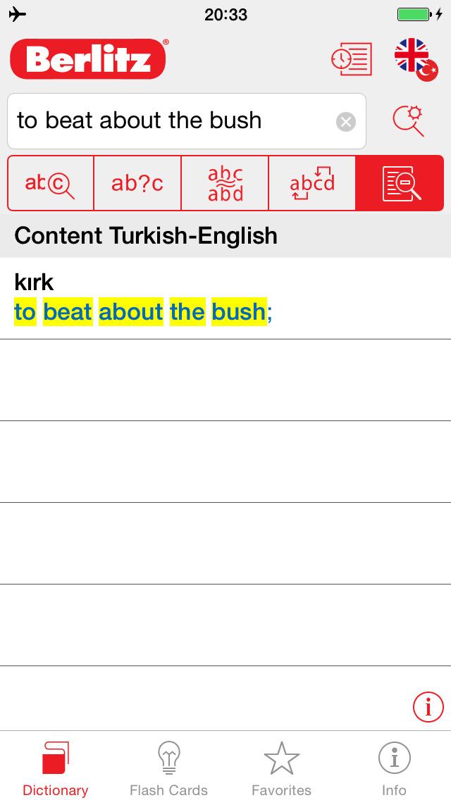 Turkish - English Berlitz Basic Dictionary screenshot 2
