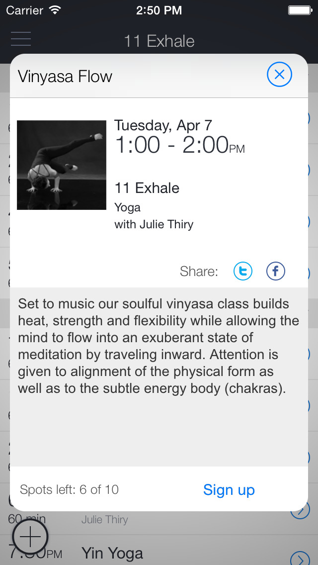 11Exhale Yoga screenshot 2