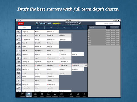 RotoWire Fantasy Basketball Draft Kit 2014 screenshot 7