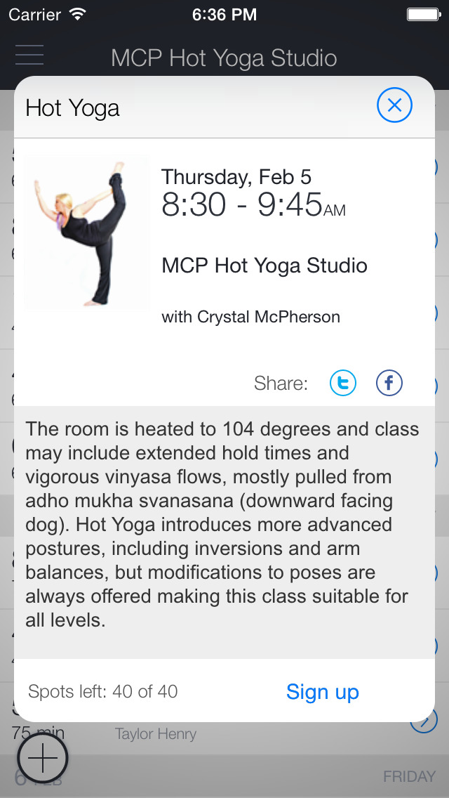 McP Hot Yoga Studio, LLC screenshot 2