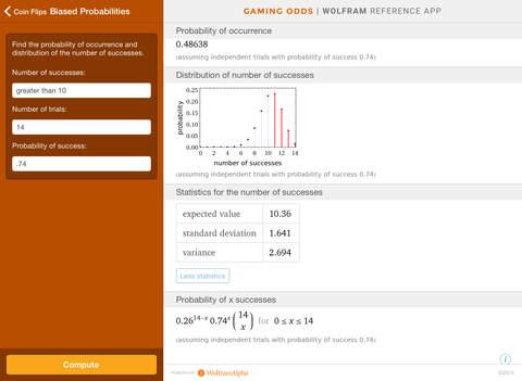 Wolfram Gaming Odds Reference App screenshot 8