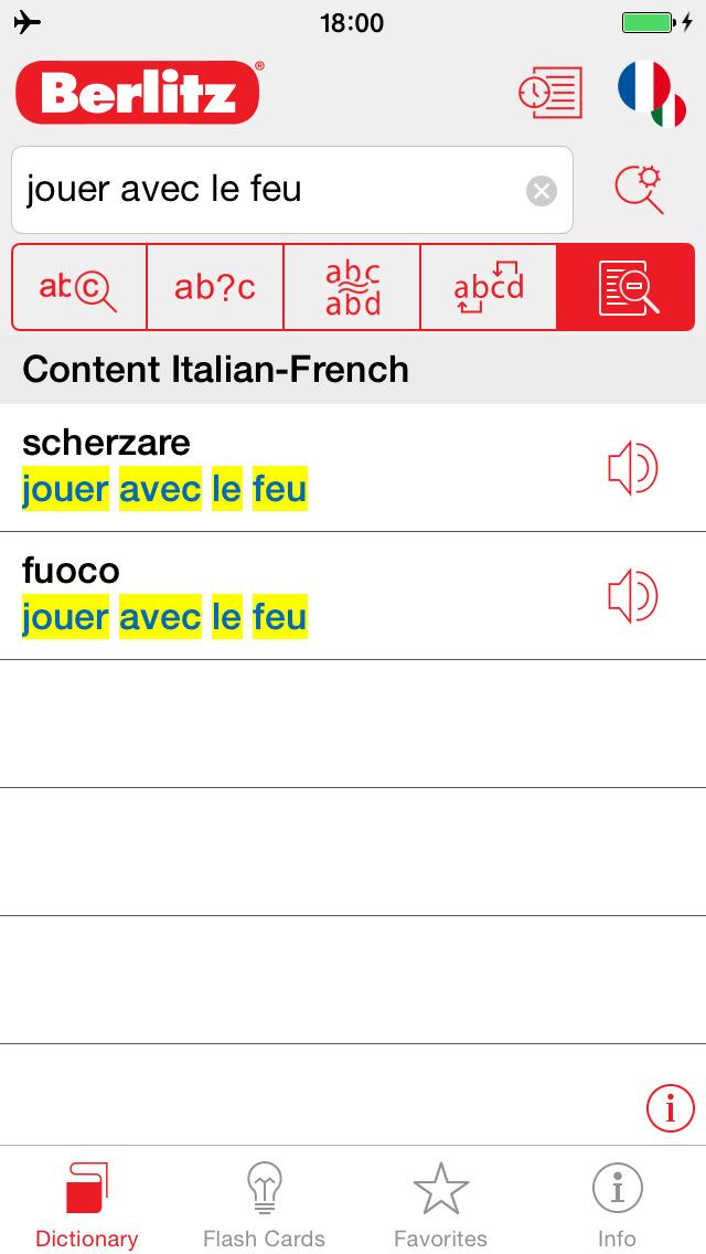 Italian - French Berlitz Mini Talking Dictionary screenshot 2