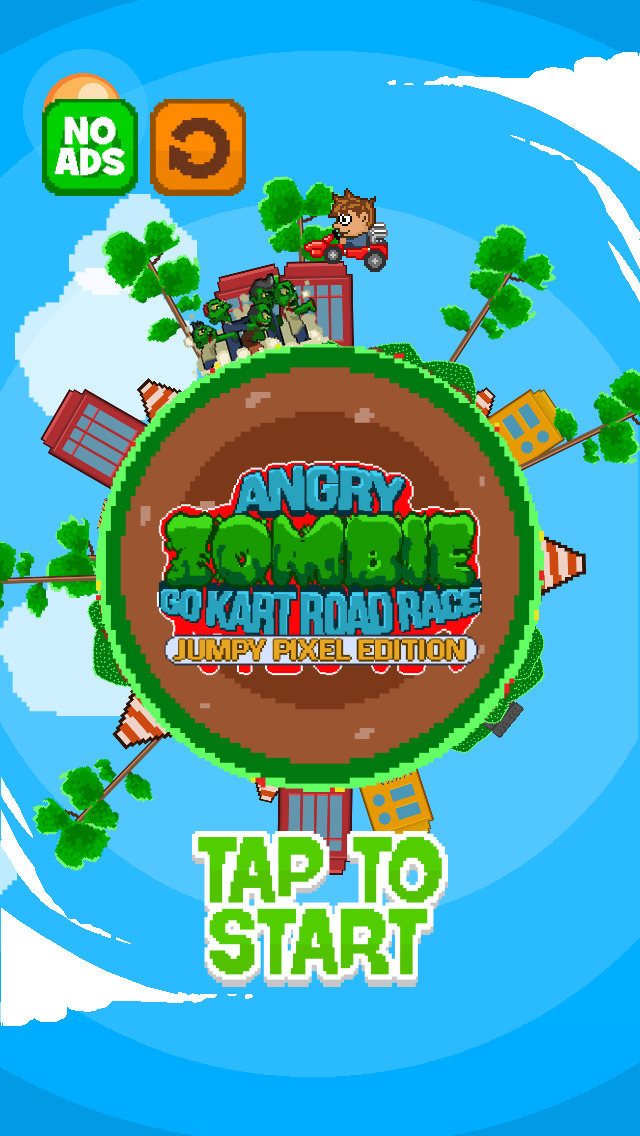 ` Angry Zombie Go Kart Road Race Free - Jumpy 8 Bit Pixel Edition by Top Crazy Games screenshot 1