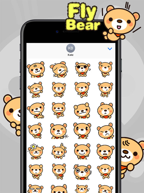 Fly Bear Sticker Pro - Cute & Emotional Stickers screenshot 7