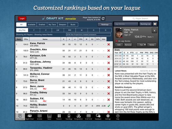 RotoWire Fantasy Hockey Draft Kit 2016 screenshot 6