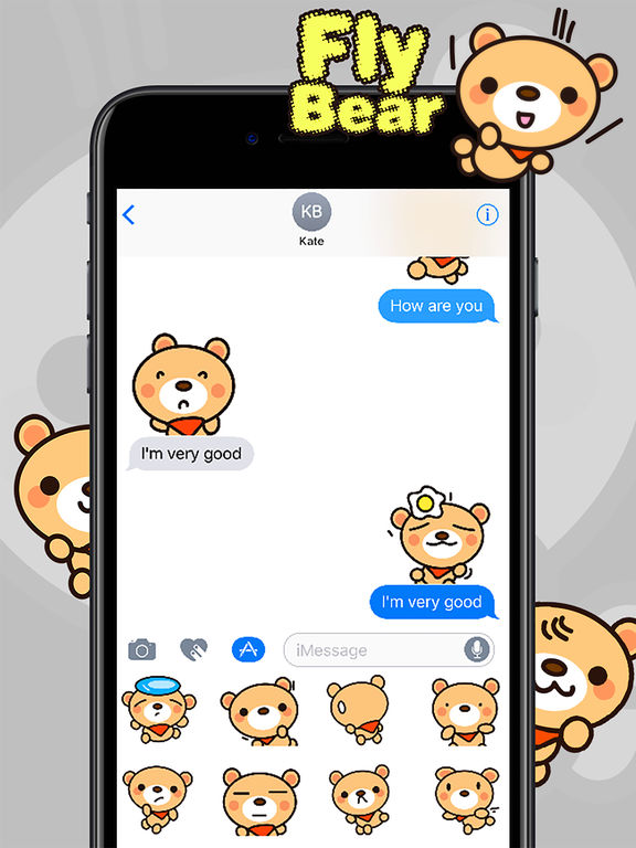 Fly Bear Sticker Pro - Cute & Emotional Stickers screenshot 9
