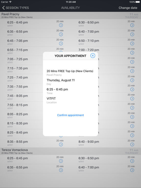 VITFIT Bookings screenshot 4