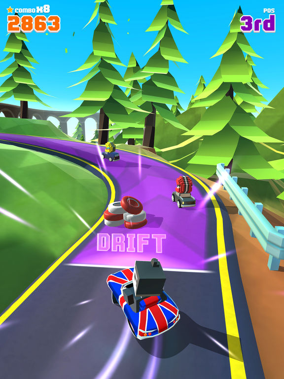 Blocky Racer - Endless Arcade Racing screenshot 7