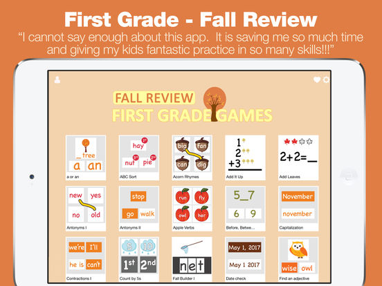 First Grade Learning Games - Fall Review App screenshot 6